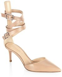 Gianvito Rossi - Leather D'orsay Ankle-strap Pumps - Lyst