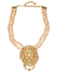 Heidi Daus Women's Goldtone & Crystal Rhinestone Lion Door-knocker Necklace - Metallic