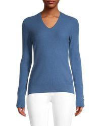 Loro Piana Women's Cashmere V-neck Sweater - Fresh Blue - Size 40 (6)