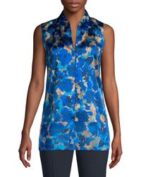 Elie Tahari Rose Floral Silk Sleeveless Blouse - Blue