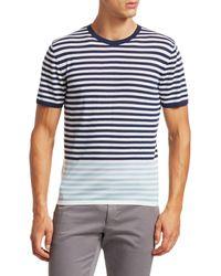 Saks Fifth Avenue Modern Striped Merino Wool T-shirt - Blue