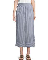 ATM Linen Stripe Trousers - Blue