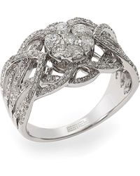 Saks Fifth Avenue 14k Rose Gold Black Jade & Diamond Circle Earrings