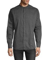 Karl Lagerfeld Mandarin Collar Printed Shirt - Black
