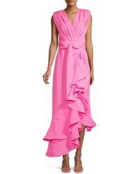 Bronx and Banco Women's Lika Robe Asymmetric Ruffle Midi Dress - Pink - Size Xs