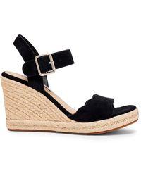 Steve Madden Women's Mandii Suede Espadrille Wedge Sandals - Camel Suede - Size 10 - Black