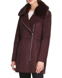 Donna Karan - Faux Fur-accented Faux Suede Coat - Lyst