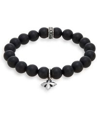 King Baby Studio - Onyx & Sterling Silver Beaded Cross Charm Bracelet - Lyst