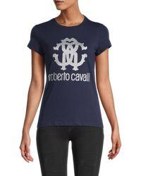 Roberto Cavalli Women's Glitter Metallic Monogram Logo T-shirt - Navy - Size Xs - Blue