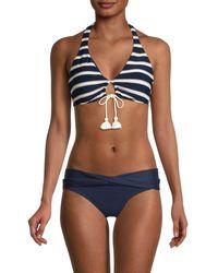 Robin Piccone Striped Halter Bikini Top - Blue