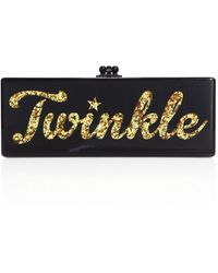 Edie Parker Flavia Twinkle Acrylic Clutch - Black
