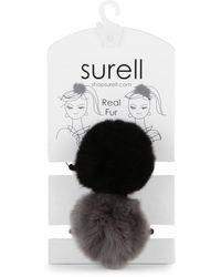 Surell Rabbit Fur Pom Pom Hair Tie - Multicolor