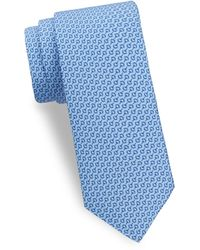 Saks Fifth Avenue Horse Bit Silk Tie - Blue