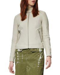 Marc New York Women's Glenbrook Feather-weight Leather & Knit Panel Moto Jacket - Light Grey - Size M