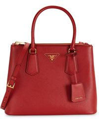 Prada Small Leather Satchel - Red