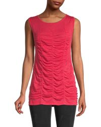 NIC+ZOE Ruched Tank - Red