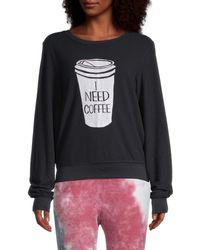 Wildfox I Need Coffee Graphic Sweatshirt - Black