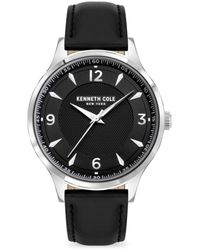 Kenneth Cole Classic Stainless Steel & Leather-strap Watch - Black