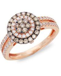 Le Vian Chocolatier® Chocolate Diamonds® And Vanilla Diamonds® 14k Strawberry Gold® Ring/size 7 - Brown