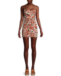 Free People Women's Floral-print Mini Dress - Rust Combo - Size M - Red