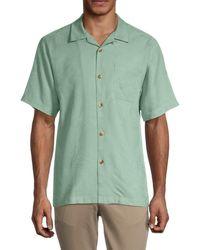 Tommy Bahama Men's Al Fresco Tropic Silk Shirt - Granite Green - Size Xs