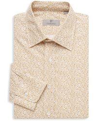 Canali - Men's Modern-fit Floral-print Dress Shirt - Tan - Size M - Lyst