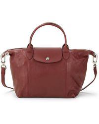 Longchamp - Le Pliage Cuir Leather Top Handle Bag - Lyst