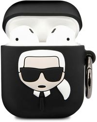Karl Lagerfeld Embossed 3d Logo Airpods Case Cover - Black