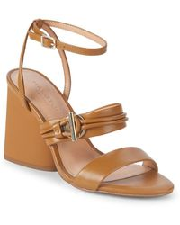 Halston - Sola Heeled Leather Sandals - Lyst