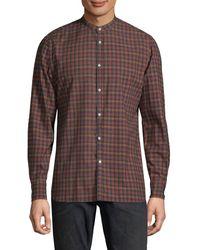 Eidos Plaid Cotton Button-down Shirt - Brown
