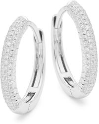 Saks Fifth Avenue 14k White Gold & Diamond Huggie Hoop Earrings - Multicolor
