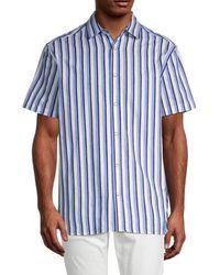 Karl Lagerfeld Men's Regular-fit Striped Shirt - Blue - Size Xl