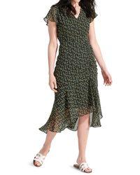 Sam Edelman Women's Floral-print Side-ruched Chiffon Dress - Black Yellow - Size 4