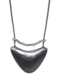 Alexis Bittar Gunmetal, Lucite & Crystal Pendant Necklace - Metallic
