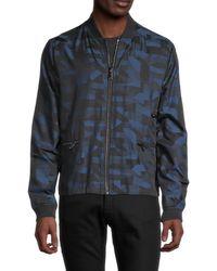 Karl Lagerfeld Men's Water-resistant Printed Bomber Jacket - Navy - Size M - Blue