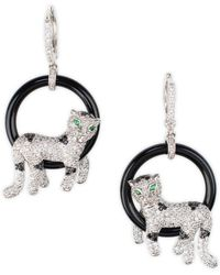 CZ by Kenneth Jay Lane - Pavé Cubic Zirconia & Onyx Panther Earrings - Lyst