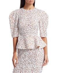 Michael Kors Women's Embellished Lace Peplum Top - Optic White - Size 4