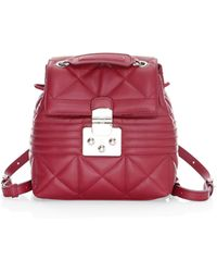 Furla Mini Quilted Leather Backpack - Red