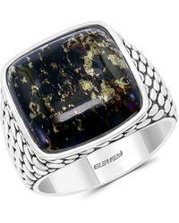 Effy Sterling Silver & Obsidian Ring - Metallic