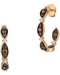 Le Vian 14k Strawberry Gold Vanilla Diamonds® & Chocolate Diamonds Open Hoop Earrings - Metallic
