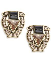 Heidi Daus - Crystal & Button Triangle Button Earrings - Lyst