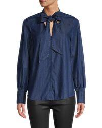 Kate Spade Women's Tie-neck Denim Shirt - Indigo - Size S - Blue