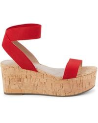 Charles David Cork Wedge Sandals - Red