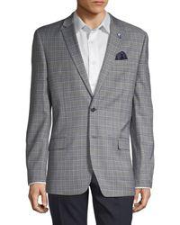 Ben Sherman Plaid Notched Sportcoat - Grey