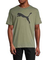 PUMA Men's Logo Short-sleeve T-shirt - Green - Size Xl