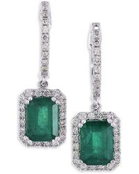 Effy Diamond, Natural Emerald & 14k White Gold Dangle & Drop Earrings - Multicolour