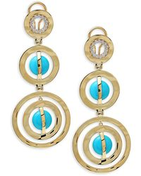 Ippolita 18k Yellow Gold, Turquoise & Diamond Drop Earrings - Multicolour