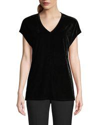 Donna Karan Velvet V-neck Top - Black