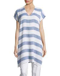 Eileen Fisher Linen Caftan Top - Blue