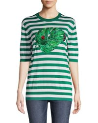 Dolce & Gabbana Striped Embroidery Cashmere & Silk Sweater - Green